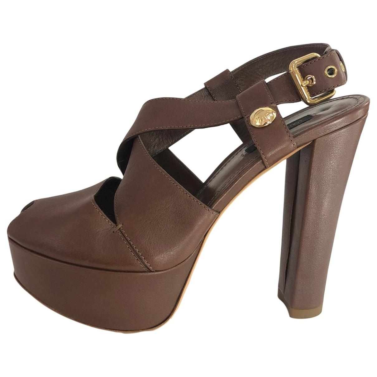 Louis Vuitton \N Brown Leather Sandals for Women 37.5 EU