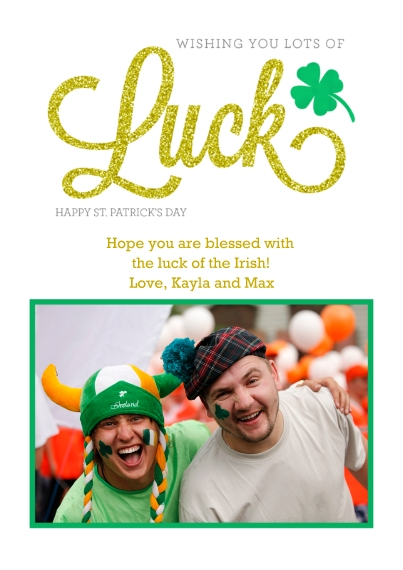 St. Patricks Day Cards 5x7 Cards, Premium Cardstock 120lb with Rounded Corners, Card & Stationery -Lucky Wishes