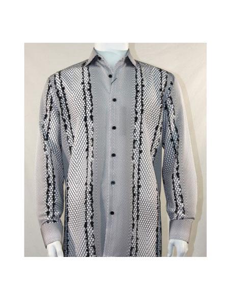 Full Cut Long Sleeve Varied Pattern Black ~ White Fashion Shirt