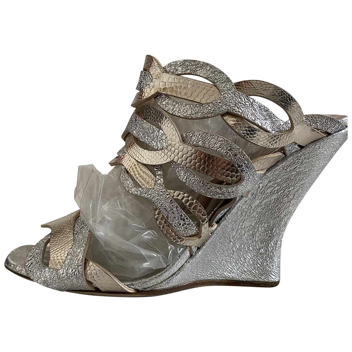Dries Van Noten \N Silver Leather Sandals for Women 38 EU
