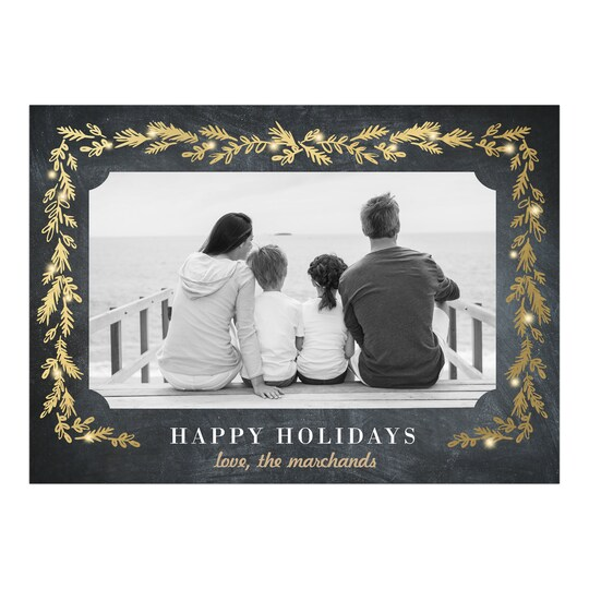 Gartner Studios® Personalized Sprig Border With Lights Holiday Photo Card | Michaels®