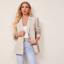 Notched Collar Patch Pocket Blazer