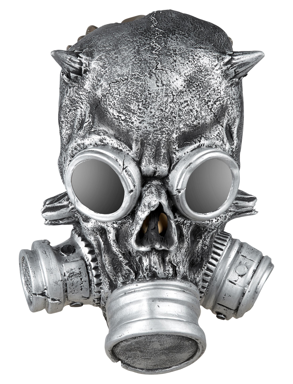 Kostuemzubehor Latex Gasmaske Metalllook Farbe: grau