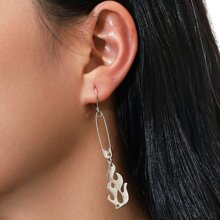 Flame & Safety Pin Drop Earrings