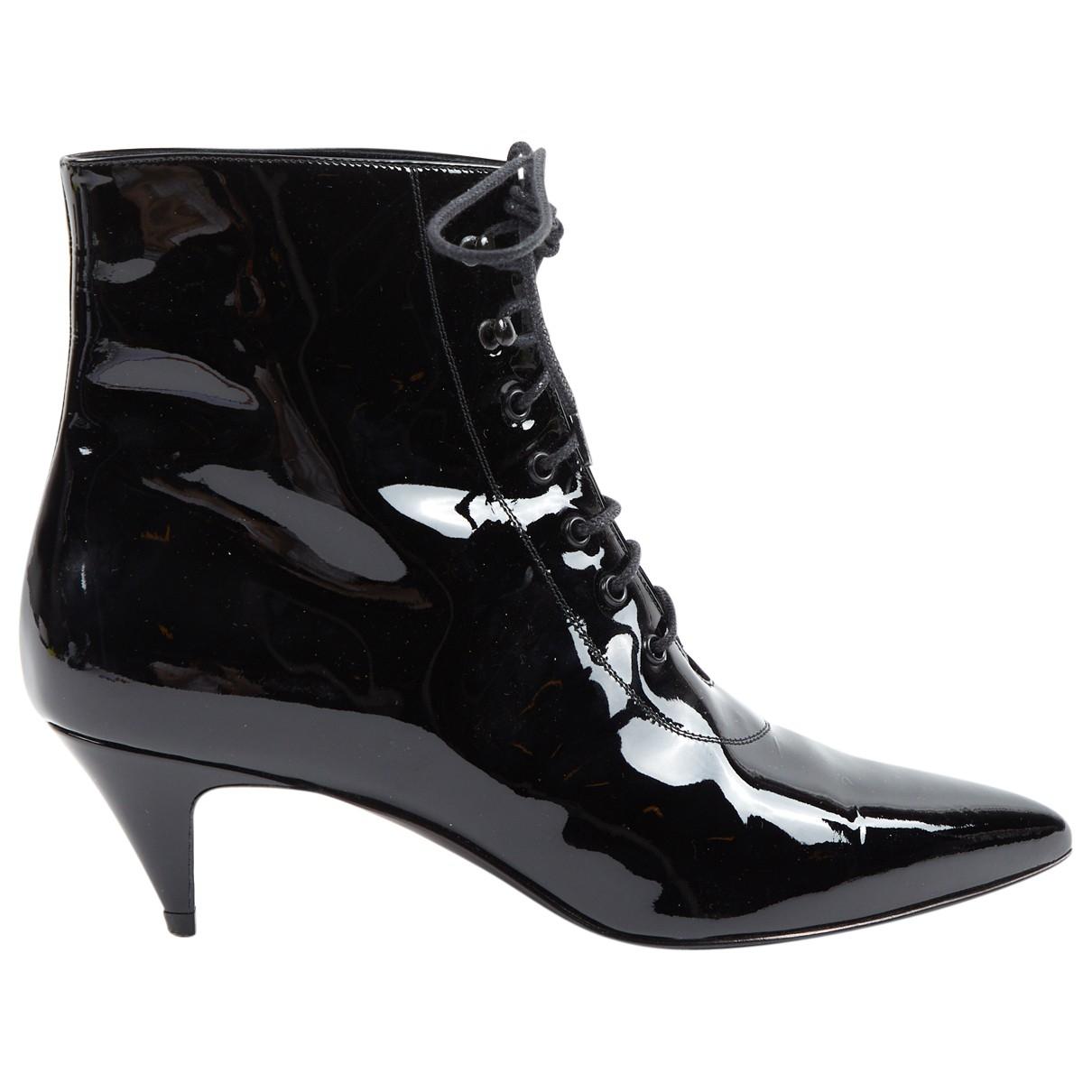 Saint Laurent Charlotte Black Patent leather Ankle boots for Women 37.5 EU