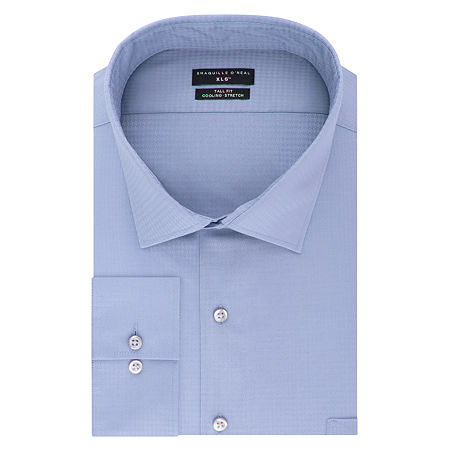 Shaquille O'Neal XLG Flex Collar Cooling Stretch Big and Tall Long Sleeve Broadcloth Dress Shirt, 17.5 37-38, Blue