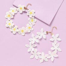 2 Stuecke Kleinkind Maedchen Halskette mit Blumen Dekor