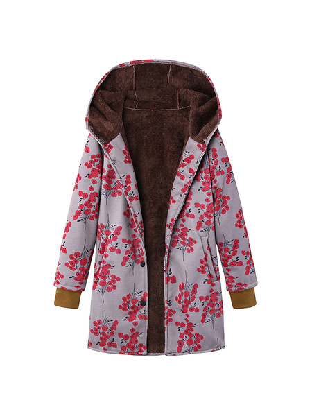 Milanoo Women Floral Coat Long Sleeve Printed Hooded Winter Coat
