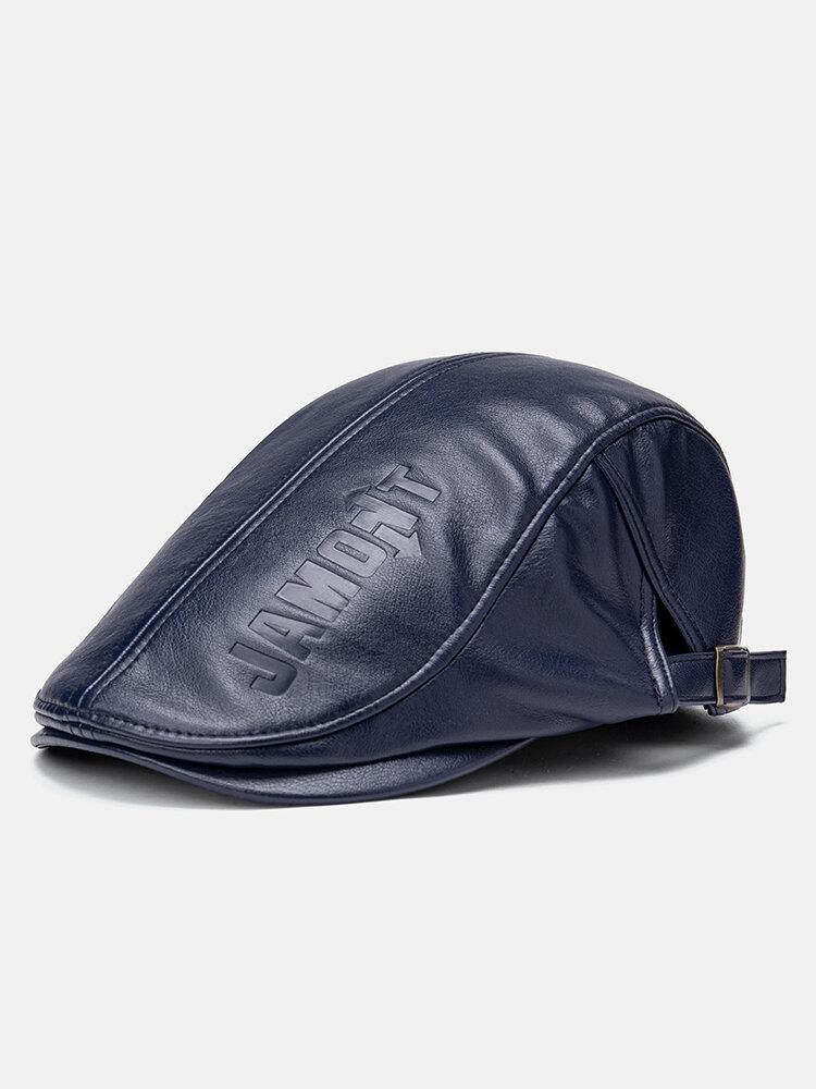 Collrown Men Faux Leather Retro Letters Pattern Flat Cap Universal All-match Forward Hat Beret Hat