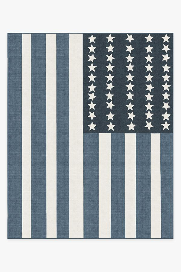 Washable Rug Cover | American Flag Blue Rug | Stain-Resistant | Ruggable | 8'x10'