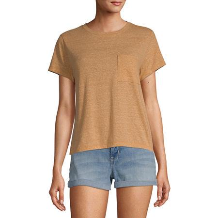 Arizona Juniors-Womens Crew Neck Short Sleeve T-Shirt, Xx-large , Yellow