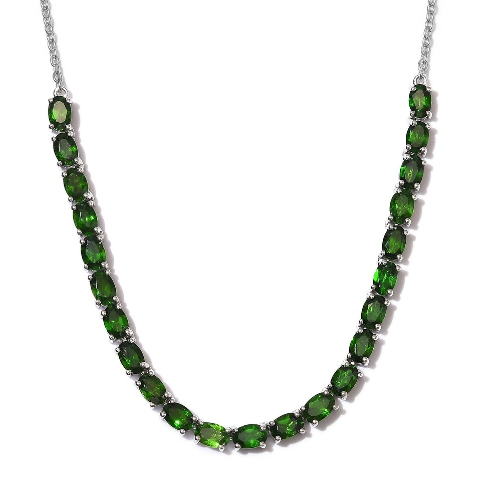Platinum Over 925 Silver Chrome Diopside Necklace Size 18 In Ct 11.4 - Size 18 (Diopside - Green - Green - Size 18)