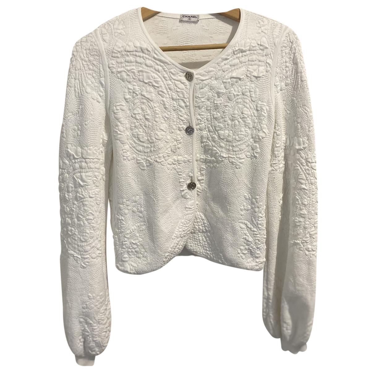 Chanel - Pull   pour femme en coton - blanc