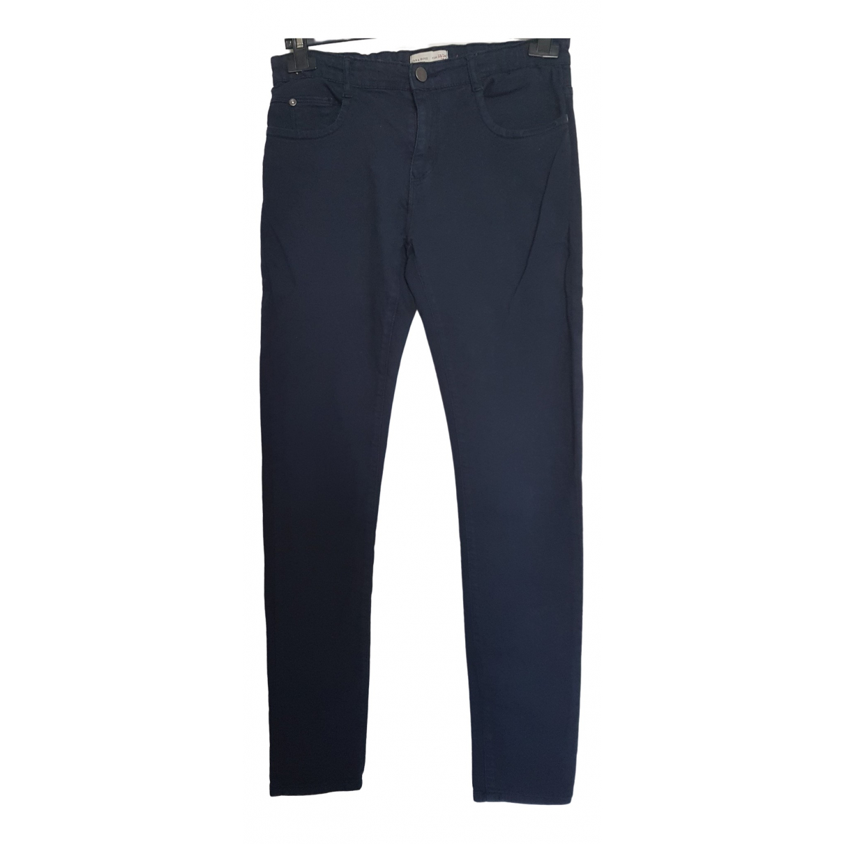 Pantalones en Algodon Azul Zara