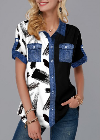 Printed Button Up Chest Pocket Blouse - XS