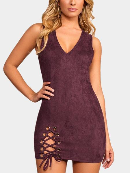 Yoins Burgundy Lace-up Design V-neck Sleeveless High-waisted Dresses