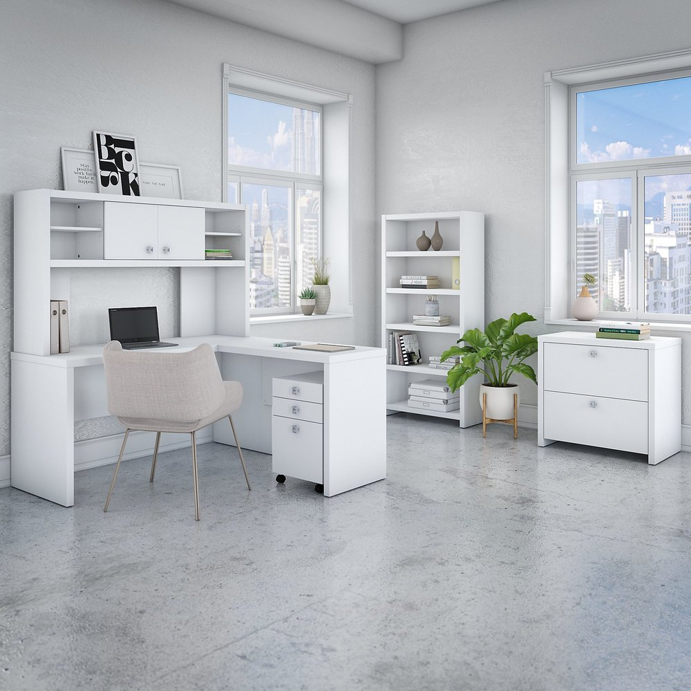 Echo 5 Piece L Shaped Office Suite in Pure White from Office by kathy ireland® (White)