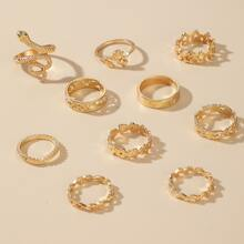10pcs Serpentine & Leaf Design Ring