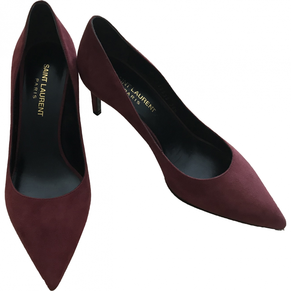 Saint Laurent Anja Pumps in  Bordeauxrot Veloursleder