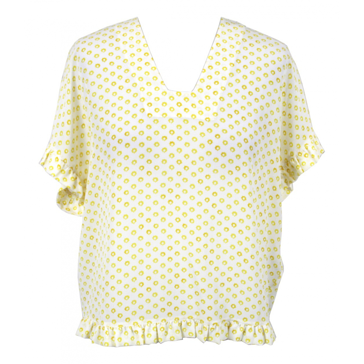 Mih Jean - Top   pour femme en soie - jaune