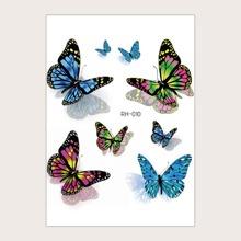 1 hoja tatuaje con patron de mariposa
