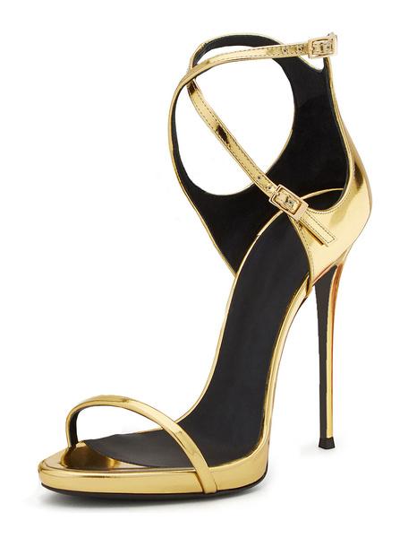 Milanoo Sandalias para novias de puntera abierta de tacon de stiletto Sandalias con pala de charol doradas estilo moderno