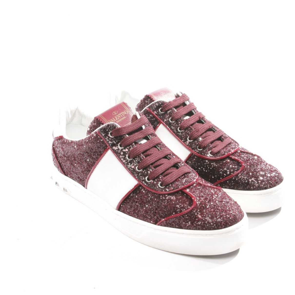 Valentino Garavani Rockstud Sneakers in  Rot Mit Pailletten
