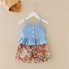 Toddler Girls Peplum Cami Top & Paisley Print Shorts