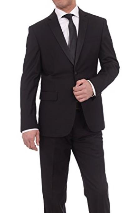Braveman Men's Slim Fit Solid Black Two Button Tuxedo Suit Satin Lapel
