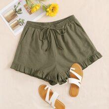 Shorts mit Taillenband und Raffungsaum