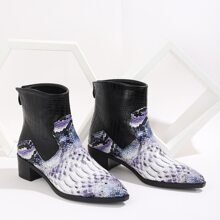 Snakeskin & Croc Embossed Chunky Heeled Boots