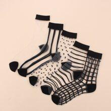 5pairs Clear Striped & Plaid Mesh Socks