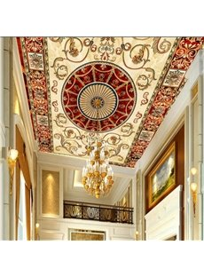 3D Golden Borders Red Background PVC Waterproof Sturdy Eco-friendly Self-Adhesive Ceiling Murals