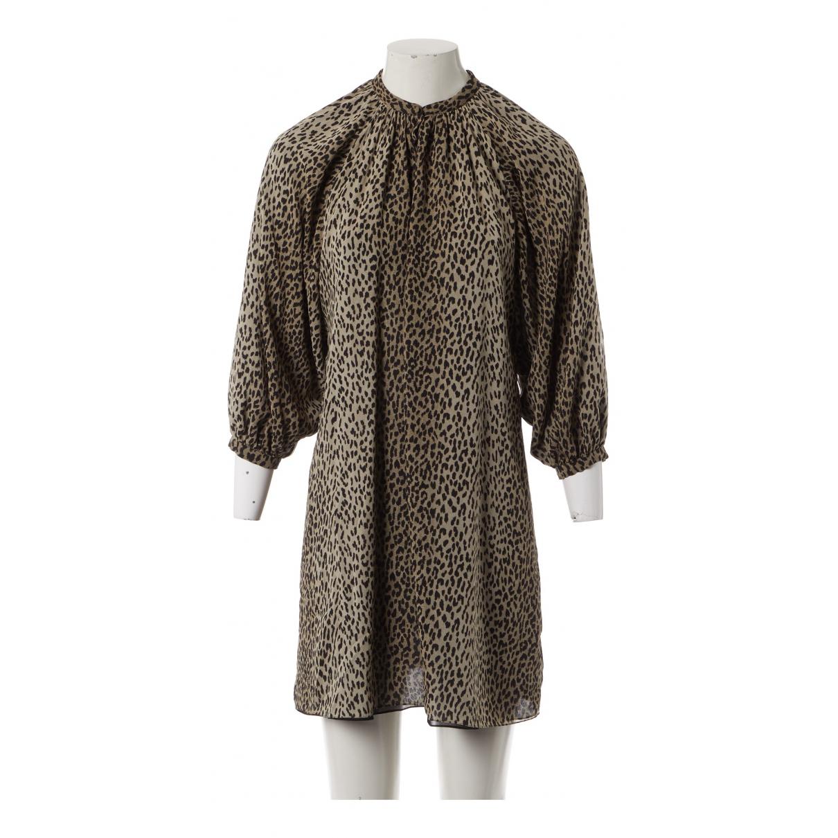 Saint Laurent \N Kleid in  Beige Seide