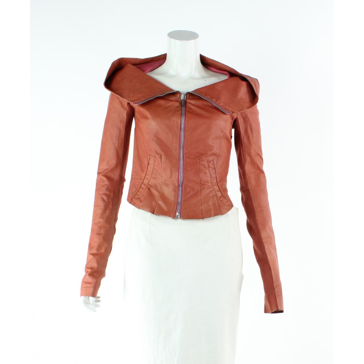 Rick Owens - Veste   pour femme en cuir - rose
