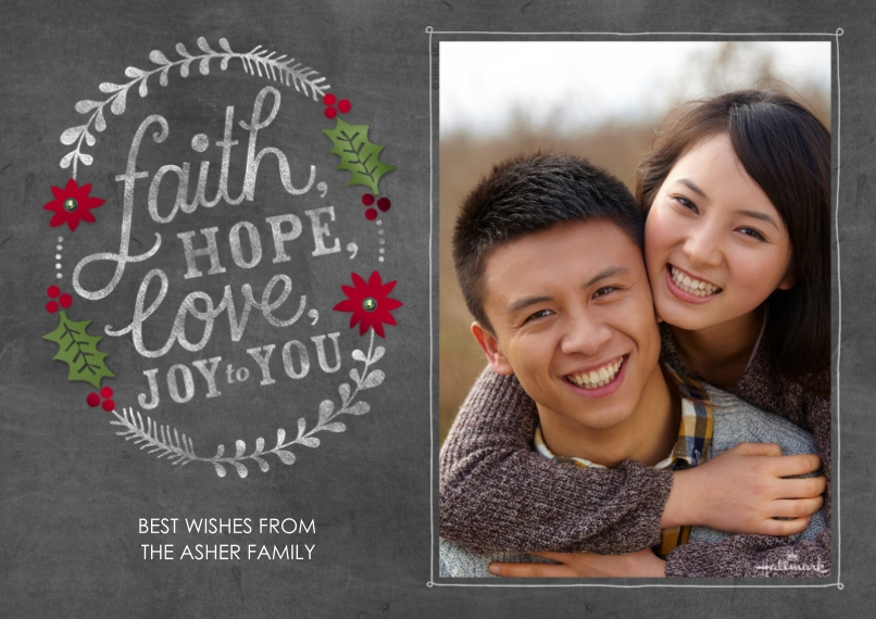 Holiday Photo Cards 5x7 Cards, Premium Cardstock 120lb with Elegant Corners, Card & Stationery -Faith Hope Love Chalkboard