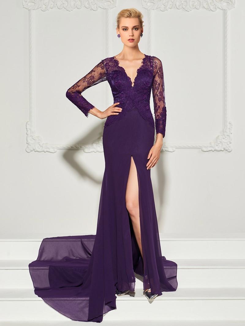 Ericdress Long Sleeve V Neck Lace Applique Mermaid Evening Dress