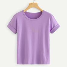T-Shirt mit gerollten Ärmeln