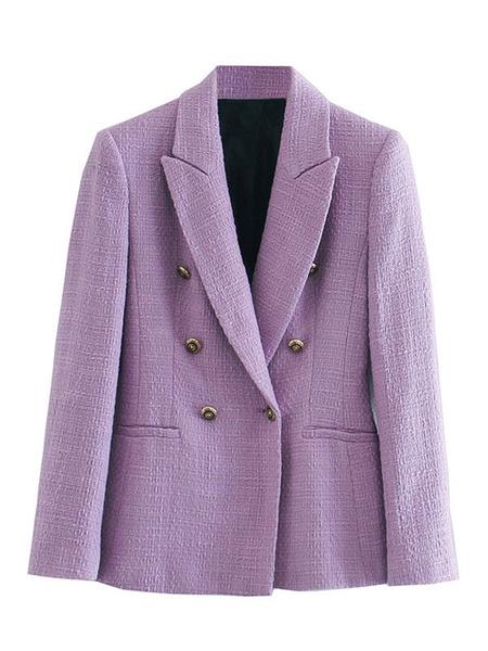 Milanoo Women Blazer Chic Turndown Collar Long Sleeves Double Breasted Jackets
