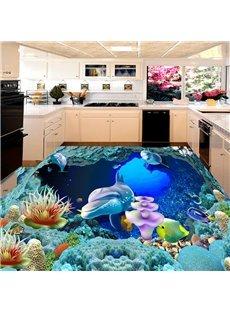 Dolphins Underwater 3D Floor Murals Waterproof Non-slip Formaldehyde-free Modern Decor