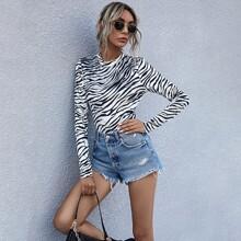 Body mit Zebra Streifen und Stehkragen