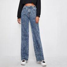 High Waist Slant Pocket Straight Jeans