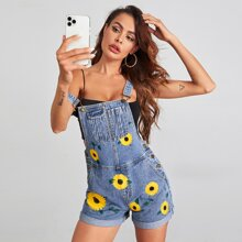 Sunflower Print Cuffed Denim Overalls