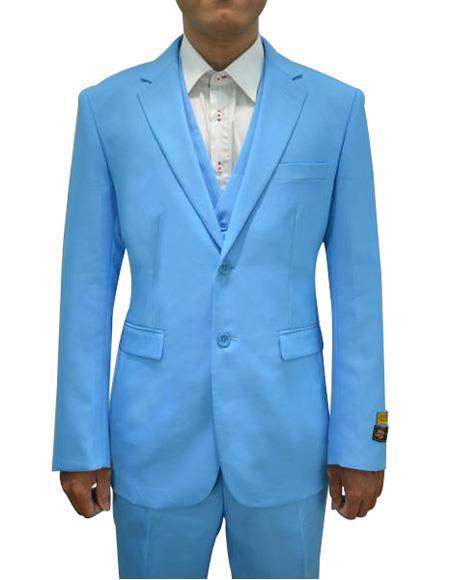 Alberto Nardoni Mens Vested 3 Piece Suit Turquoise