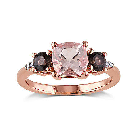 Genuine Morganite, Smokey Quartz and Diamond-Accent 3-Stone Ring, 5 , No Color Family