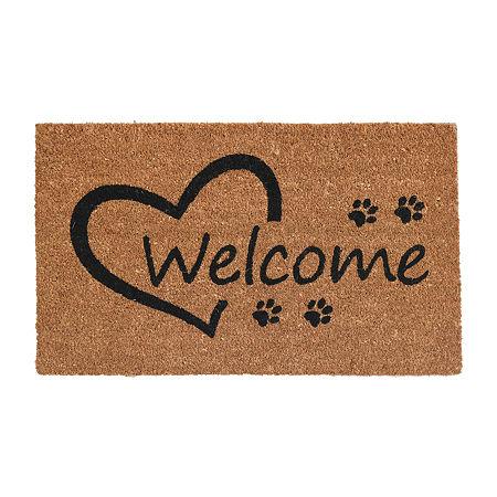 Open Heart Paws Rectangular Outdoor Doormat, One Size , White