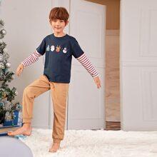 Schlafanzug Set mit Weihnachten Muster und Streifen