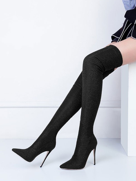 Milanoo Stretch Thigh High Boots Womens Imitated Silk Solid Color Pointed Toe Stiletto Heel Over The Knee Boots