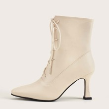 Point Toe Lace-up Front Ankle Boots