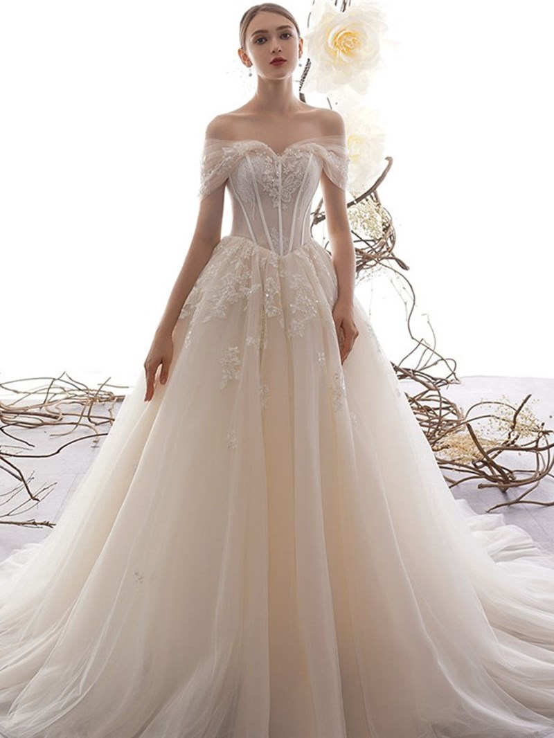 Ericdress Court Short Sleeves Off-The-Shoulder Beading Church Wedding Dress 2020